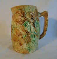 "Majolica Pottery Pitcher Vintage Original 6"" Handle Floral Leaves Green Brown"
