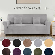 Premium Slip Cover Velvet Elastic Stretch Sofa Cover 1-4 Seater Protector Settee
