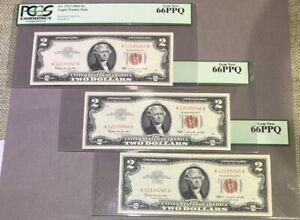 1963 A $2 - PCGS PPQ 66 - Consecutive Run Of (3) - Legal Tender Notes - Gem New