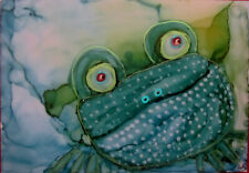 Aceo art Print happy frog toad by Lynne Kohler