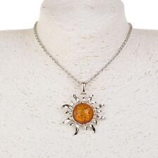 Sculpt?Sun Elégant Fleur Baltique Faux Ambre Sweater Long Collier Pendantif