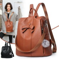 UK Women's Leather Backpack Anti-Theft Rucksack School Shoulder Bag Black/Brown