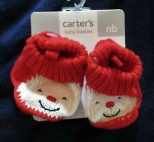 New $16 Carters baby boy girl sz NB red white knit sweater booties Santa Claus