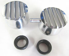 Polished Round Finned Aluminum PCV Valve & Valve Cover Breather Pair Rat Rod V8