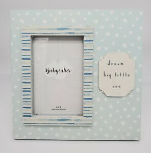 """BABYCAKES 4x6"""" Picture, 9x9"""" Frame, Boy Blue Wood, Dream Big Little One,  NEW"""