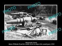 OLD LARGE HISTORIC PHOTO DAUGAVPILS LATVIA THE CAPTURED COASTAL GUNS c1918 WWI