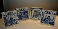 "VTG Delft Holland Handmade Pharmacist/Apothecary/medical Tile 6"" Sq. set of 4"
