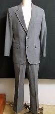 Two Button Suit 42 Blazer 34/29 Pants Short Straight Leg Flat Front Interview