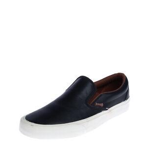 VANS CLASSIC SLIP-ON Leather Sneakers Size 42 UK 8 US 9 Logo Padded Topline