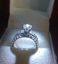 White Gold Over Round Cut Diamond Solitaire Engagement Ring Wedding Bridal Set