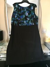 BNWOT MONSOON BLACK FLORAL CHIFFON TOP SHAPEWEAR BODYCON DRESS SIZE 22