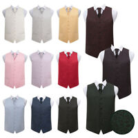Premium Woven Swirl Patterned Mens Tuxedo Wedding Waistcoat & Cravat Set