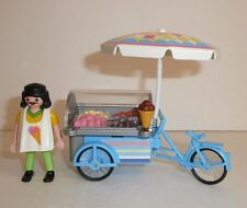 Playmobil Parts + Pieces Lot - Ice Cream Man Vendor Cart Bike Icecream Cones