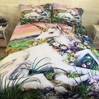 Unicorn Quilt Doona Duvet Cover Set Single Double Queen King Size Bed Pillowcase