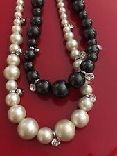 Luxurious Givenchy Black & White Double Faux Pearl Necklace w Crystals