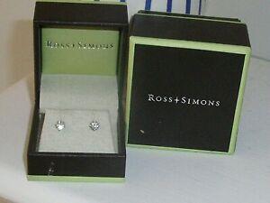 ROSS SIMONS 14 Kt White GOLD DIAMOND STUD EARRINGS 1/2 CT TW W/ BOX