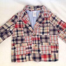 Janie And Jack 6-12 Months Madras Plaid Sports Coat Blazer Jacket Patchwork