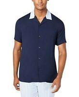 INC International Concepts Mens Button Fr Shirt Navy Blue Short Sleeve XXL New
