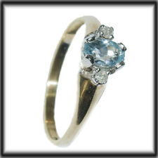 9ct Solid GOLD DIAMONDS & Topaz Ladies ring size N jewellery company