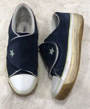 Rare Vintage Converse All Star Blue Suede Platform Sneakers Size 10