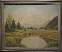 Prossel Dipinto a Olio ° Paesaggio Alpino Gebirge Montagne Stagno Lago ° Circa