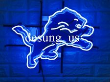 "New Detroit Lions Logo Beer Bar Neon Light Sign 20""x16"" Hd Vivid Printing"