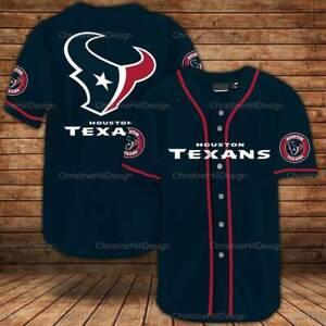 Houston Texans Men Baseball Shirts Button-Down Short Sleeve Uniforms Tee Tops