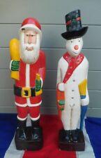 HAND CARVED SANTA CLAUS FATHER XMAS CHRISTMAS AND SNOWMAN FOLK ART ORNAMENT