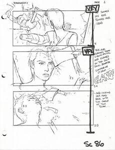 Terminator 3 original production used storyboard sheet & Lifetime COA