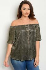 NEW..Stunning Black & Gold Lurex Off The Shoulder Top with Necklace..SZ18/2xl