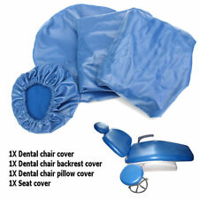 Dental Chair Unit Cover Sleeves PU Headrest Seat Stool Protector Blue * 1 SET