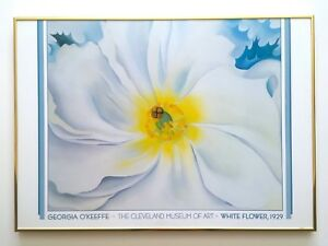"GEORGIA O'KEEFFE RARE 1988 LITHOGRAPH PRINT FRAMED POSTER "" WHITE FLOWER "" 1929"