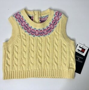 Tommy Hilfiger Baby Girls Sweater Vest 3-6 Months Yellow Spring Easter NWT NEW