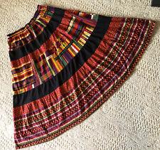 Carole Little Sports Colorful Tier Skirt Cotton Knit Brites on Black  M