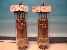 El84 Siemens # MATCHED PAIR # SAME CODE: km4/q7a # nos (193)