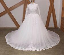 UK White/Ivory Long Sleeve Muslim Flower Wedding Dress Bridal Gown Sizes 6-22