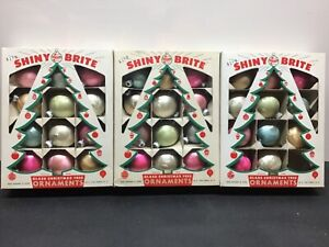 Vtg 1940s SHINY BRITE JACK FROST HAMMERED Christmas Ornaments Lot of 35 Orig Box