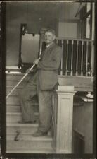 Occupation Work Older Man Janitor Poses on Steps w/ His Broom c1910 RPPC