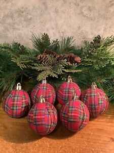 "6 Red Tartan Plaid 2.4"" Rag Balls Rustic Primitive Farmhouse Tree Ornaments, New"