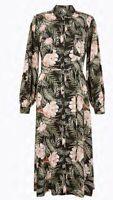 New per Una By M&S smock Floral Print Midi Shirt Dress Size 14 Green Mix