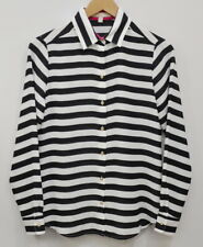 Banana Republic XS Long Sleeve Button Up Blouse Black White striped New w/Flaw