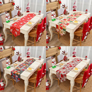 Christmas Santa Claus Party Decor Table Runner Xmas Tablecloth Flag Festival