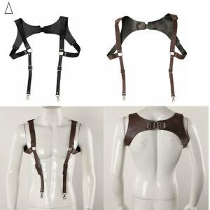 Vintage Leather Suspender H Shape Back Design with Adjustable Buckle Closure