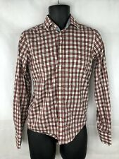 Zara Man Red Green White Size Small Slim Fit Long Sleeve Shirt Button Up B37