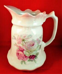 JAMES KENT Water Jug Pitcher VICTORIA ROSE China VINTAGE Embossed OLD FOLEY Vase