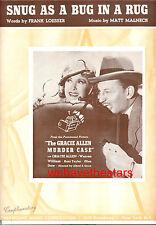 """GRACIE ALLEN MURDER CASE Sheet Music """"Snug As Bug In A Rug"""" Gracie Allen 1939"""