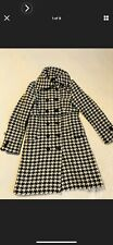 Soia & Kyo Coat Size Large Womens Black White Wool Herringbone Jacket Button