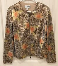 Joseph Ribkoff 10 Womens Leopard Metallic Zip Up Jacket Blazer Spring Coat Lined
