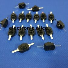 10pcs 1A 30V DC 250V black Latching on off mini torch push button switch