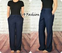 NEXT NEW LADIES NAVY BLUE LINEN TROUSERS IN 2 LEG LENGTHS REGULAR & TALL 937